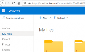 OneDrive files and folders