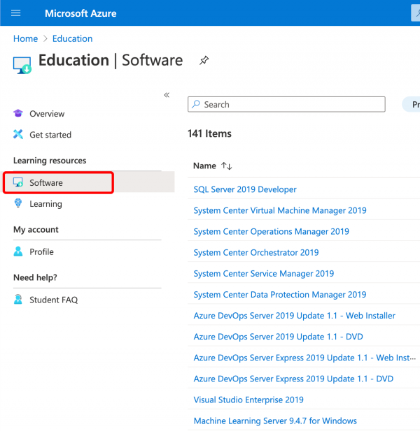 Link in Azure Education portal to find free software