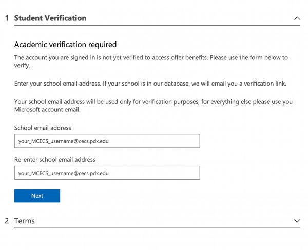 Enter your cecs.pdx.edu email address to verify you are an MCECS user