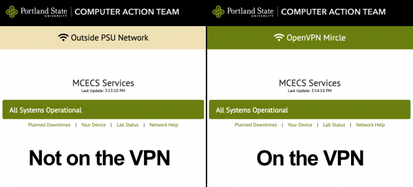 Image comparing status.cecs.pdx.edu banner when on or off the VPN