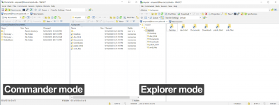 Image of Win SCP's Commander mode and Explorer mode interface side-by-side