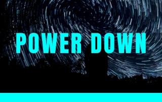 """banner image with word """"power down"""""""