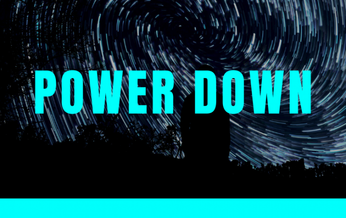 "banner image with word ""power down"""