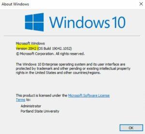 Windows Version pop up box