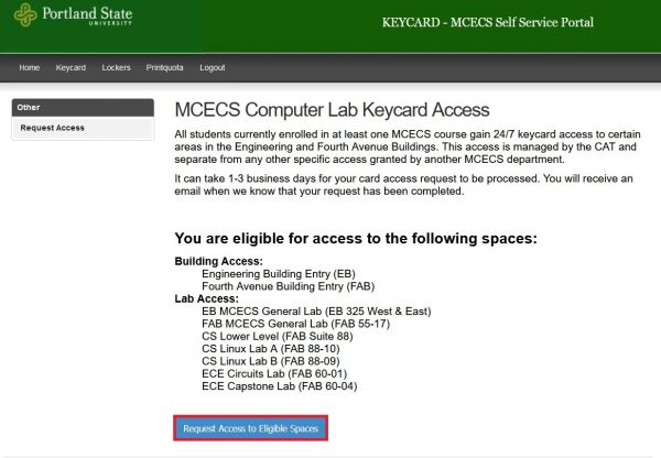 Main screen of the keycard portal showing the request access button