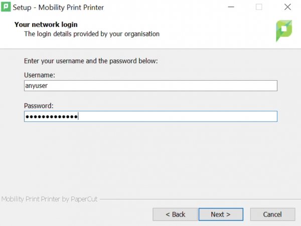 entering MCECS credentials when installing printers with Mobility Print
